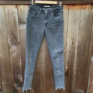 Lev's 721 Black Skinny Raw Hem Jeans